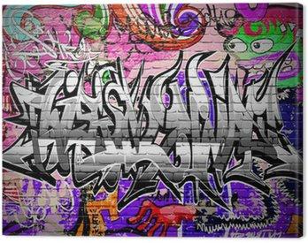 Graffiti vector art. Urban wall with spray paint Canvas Print