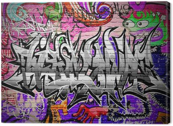 Graffiti vector art. Urban wall with spray paint Canvas Print