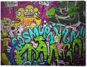 Canvas Print Graffiti wall urban art background. Grunge hip hop design