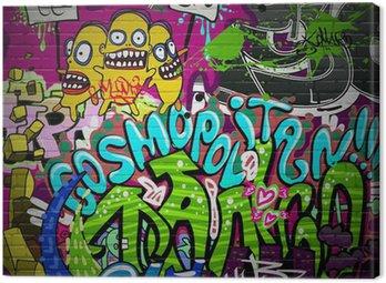 Graffiti wall urban art background. Grunge hip hop design Canvas Print