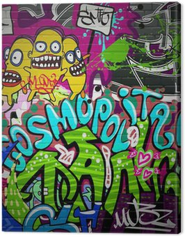 Graffiti wall urban art background. Grunge hip hop design Canvas Print