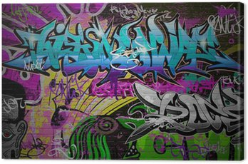Graffiti wall urban art background Canvas Print