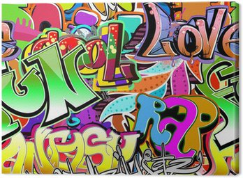 Graffiti wall. Urban art vector background. Seamless pattern Canvas Print