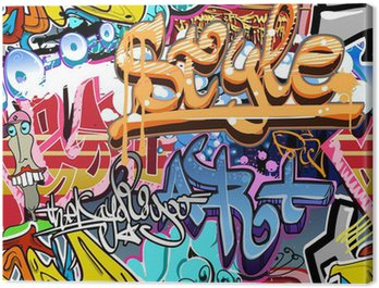 Graffiti wall. Urban art vector background. Seamless texture Canvas Print