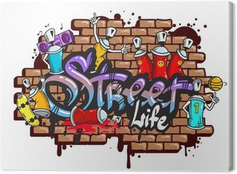 Canvas Print Graffiti word characters composition
