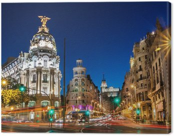 Canvas Print Gran Via in Madrid, Spain, Europe.