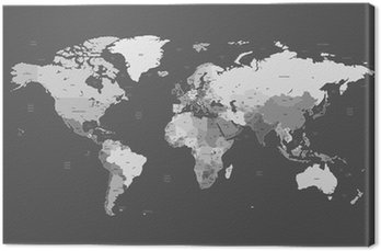 Gray detailed World map Canvas Print