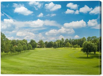 Canvas Print green golf field and blue cloudy sky