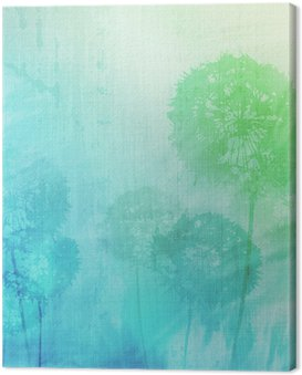 Canvas Print grunge background with dandelions