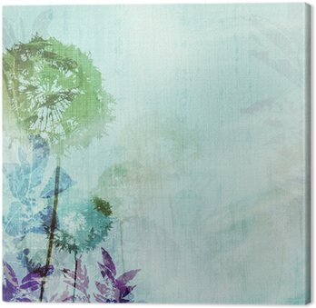 grunge background with dandelions Canvas Print