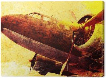 Grunge old military aircraft, background