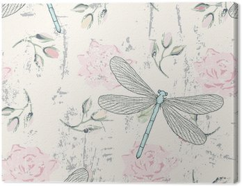 grungy floral seamless pattern with dragonflies