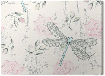 Canvas Print grungy floral seamless pattern with dragonflies