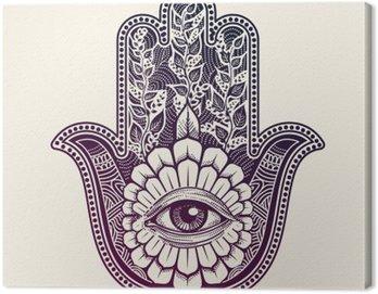 Canvas Print Hamsa. hand of Fatima, good luck symbol