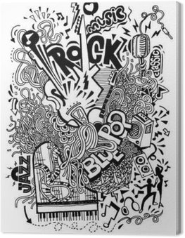 Hand drawing Doodle,Collage with musical instruments