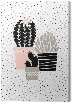 Canvas Print Hand Drawn Cactus Poster