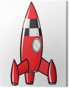 hand drawn, cartoon, vector illustration of toy rocket