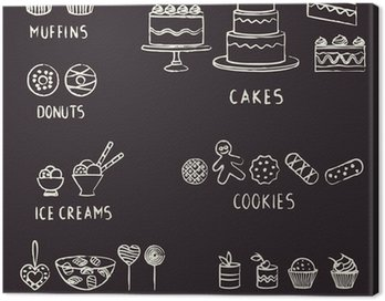 Canvas Print Hand drawn confectionery elements on blackboard