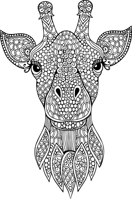Hand Drawn Doodle Giraffe Head Illustration For Coloring Book Canvas Print