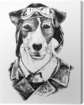 Hand drawn dressed up dog aviator