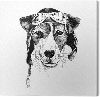 Canvas Print Hand drawn dressed up dog aviator