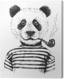 Canvas Print Hand drawn Illustration of hipster panda