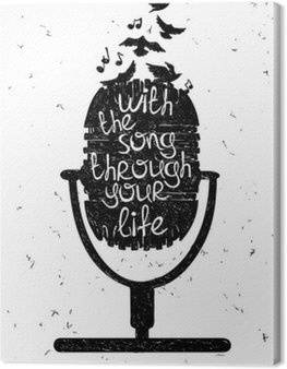 Hand drawn musical illustration with silhouette of microphone.