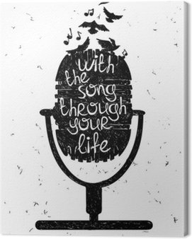 Canvas Print Hand drawn musical illustration with silhouette of microphone.
