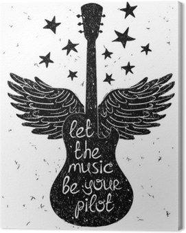 Canvas Print Hand drawn musical illustration with silhouettes of guitar.