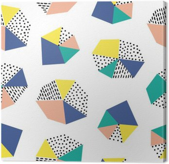 Canvas Print Hand drawn seamless pattern with brush strokes and geometric figure.
