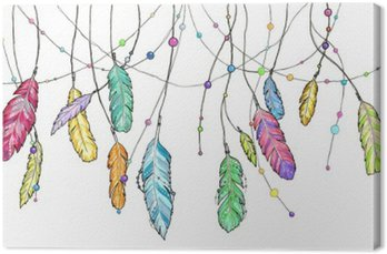 Canvas Print Hand drawn sketch feathers of dream catcher.