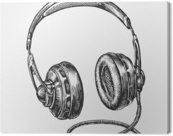 Canvas Print Hand-drawn vintage headphones. Sketch music. Vector illustration