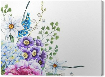 Canvas Print Hand drawn watercolor flowers