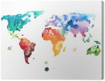 Canvas Print Hand drawn watercolor world map aquarelle illustration.