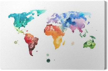 Canvas Print Hand drawn watercolor world map aquarelle illustration.