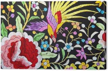 Handmade embroidered shawl, a flamenco still life