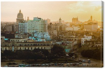 Canvas Print Havana (Habana) in sunset, Cuba