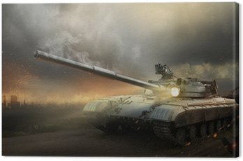Canvas Print Heavy armor in the fire of battle