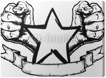 Canvas Print Heavy Metal / Rock Banner Tattoo