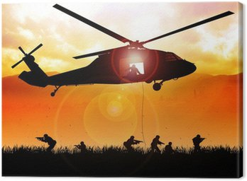 Canvas Print Helicopter is dropping the troops