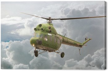 Canvas Print Helicopter MI-2 flight, Russia against clouds