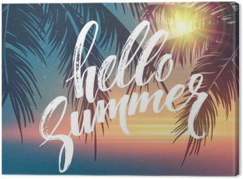 Hello summer background. Tropical palm leaves pattern, handwriting lettering. Palm Tree branches. Tropic paradise backdrop. Vector illustration