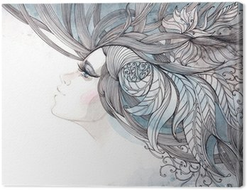 Canvas Print her hair ornate with foliage