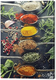 Canvas Print Herbs and spices selection