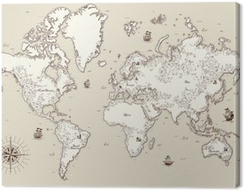Canvas Print High detailed, Old world map with decorative elements
