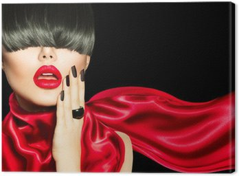Canvas Print High Fashion Girl with Trendy Hairstyle, Makeup and Manicure
