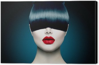 High Fashion Model Girl Portrait with Trendy Fringe Canvas Print