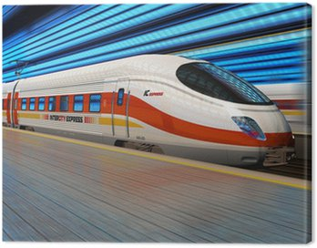 High speed train departs from railway station with motion blur Canvas Print