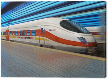 High speed train departs from railway station with motion blur