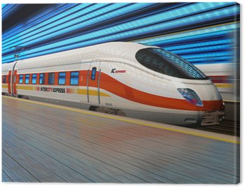 Canvas Print High speed train departs from railway station with motion blur
